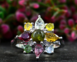 Stunning Genuine Watermelon Tourmaline Ring In Silver