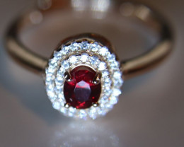 Winza Ruby .65ct Rose Gold Finish Solid 925 Sterling Silver Halo Ring     S