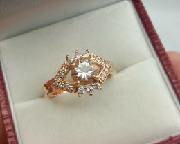 Natural morganite with CZ ring