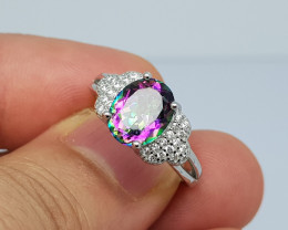 Natural nice myestic topaz 19.45 Carats 925 Silver Ring