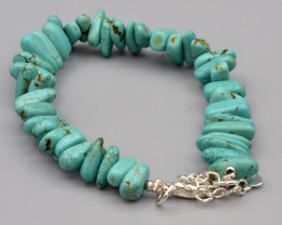 Natural Turquoise Bracelet (Hand Made)