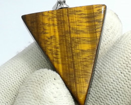 Natural Tiger Eye Agate Stainless Steel Trianngle Pendant