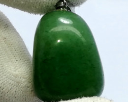 78.35 Carats Natural Green Nephrite Jade Stainless Steel Pendant
