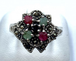 RUBY EMERALD SAPPHIRE SILVER RING CLASSIC JEWELRY Y AR1