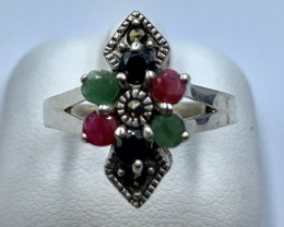 RUBY EMERALD SAPPHIRE SILVER RING CLASSIC JEWELRY AR2
