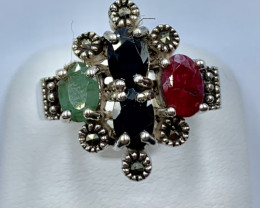 RUBY EMERALD SAPPHIRE SILVER RING CLASSIC JEWELLERY AR4