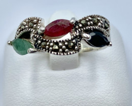 RUBY EMERALD SAPPHIRE SILVER RING CLASSIC JEWELLERY AR5