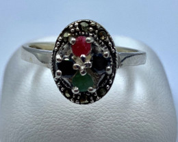 RUBY EMERALD SAPPHIRE SILVER RING CLASSIC JEWELLERY AR7