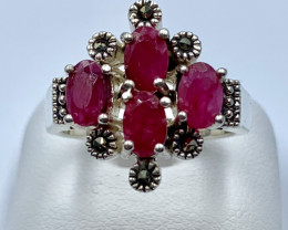 NATURAL RUBY SILVER RING CLASSIC JEWELLERY AR8