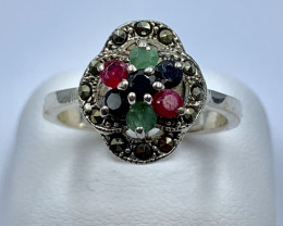 NATURAL STONE SILVER RING CLASSIC JEWELLERY AR10