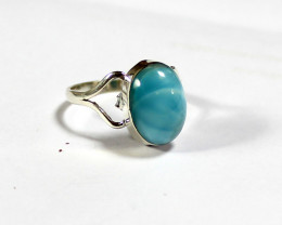 Lovely Natural  Volcanic Blue AAA++ Larimar .925 Sterling Silver Ring #8