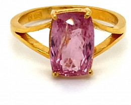 Tajik Pink Spinel 3.72ct Solid 22K Yellow Gold Solitaire Ring       Size 8
