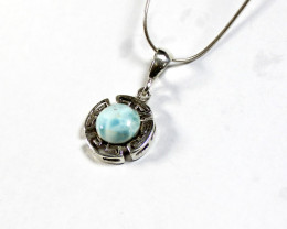 Beautiful Natural Light Blue Larimar .925 Sterling Silver Pendant 1.2inch