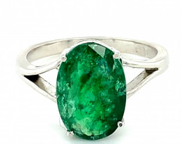 Real Cheep Emerald 3.29ct Solid 18K White Gold Solitaire Ring     Size 7.25