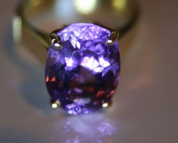 Amethyst 7.15ct Solid 18K Yellow Gold Solitaire Ring     Size 7.00