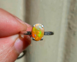 Natural 7.00 carat multifire opal 925 silver ring, 7x5x3mm