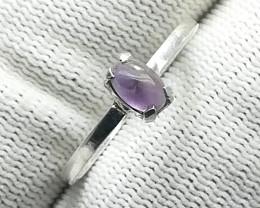 Natural Purple  Amethyst Cabochon Silver Ring 6.70 Carats