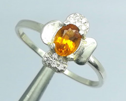 Natural Orange Color Citrine Silver Ring 7.60 Carats