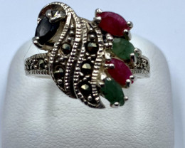 RUBY EMERALD SAPPHIRE SILVER RING CLASSIC JEWELLERY AR21