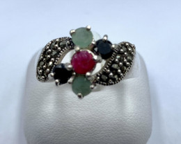 RUBY EMERALD SAPPHIRE SILVER RING CLASSIC JEWELLERY AR22