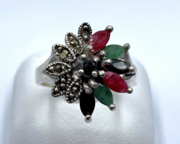 RUBY EMERALD SAPPHIRE SILVER RING CLASSIC JEWELLERY AR23