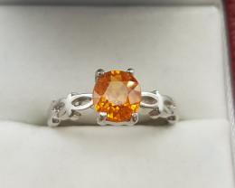 Natural Spesartite Garnet Ring.
