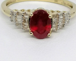 Ruby and Diamond Ring 1.25 TCW in 9kt. Gold