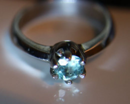 Blue Zircon 1.20ct Platinum Finish Solid 925 Sterling Silver Ring      Size