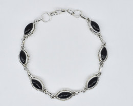 BLACK ONYX BRACELET NATURAL GEM 925 STERLING SILVER JB278