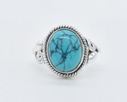 TURQUOISE RING 925 STERLING SILVER NATURAL GEMSTONE JR427