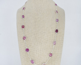PINK SAPPHIRE NECKLACE NATURAL GEM 925 STERLING SILVER JN172