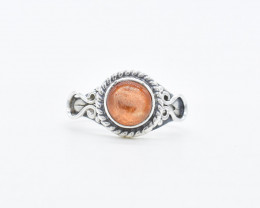 SUNSTONE RING 925 STERLING SILVER NATURAL GEMSTONE JR411
