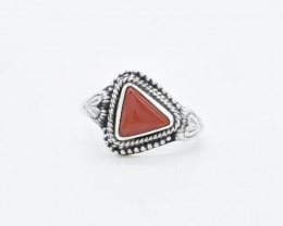 CTS RED CORAL RING 925 STERLING SILVER NATURAL GEMSTONE JR412
