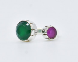 RUBY/GREEN ONYX RING 925 STERLING SILVER NATURAL GEMSTONE JR328