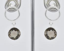 SMOKY QUARTZ EARRINGS 925 STERLING SILVER NATURAL GEMSTONE JE345