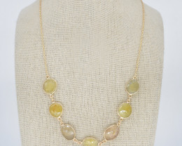 YELLOW SAPPHIRE NECKLACE NATURAL GEM 925 STERLING SILVER JN166