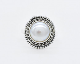 PEARL RING 925 STERLING SILVER NATURAL GEMSTONE JR418