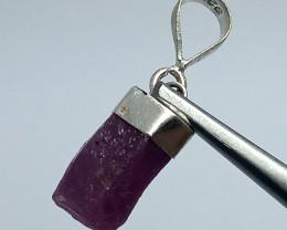 Natural Corundum Ruby Crystal Silver Pendant 14.15 Carats