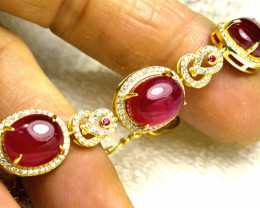 91.0 Tcw. Ruby/ Sterling Silver / White Gold Bracelet - Gorgeous