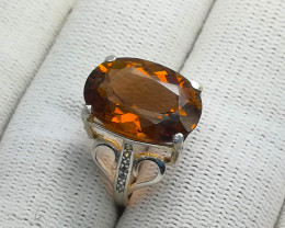 Natural Champagne Topaz 20.10 Carats 925 Silver Ring