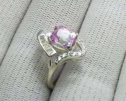 Natural Pink Kunzite 18.50 Carats 925 Silver Ring