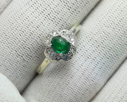 Natural Green Emerald Cabochon 12.50 Carats 925 Silver Ring