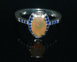 Natural Fire Opal 17.00 Carats 925 Silver Ring