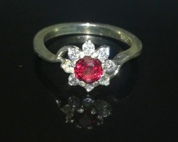 Natural Hessonite Garnet 16.20 Carats 925 Silver Ring