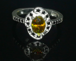 Natural Fire Yellow Sphene (Titanite) 16.70 Carats 925 Silver Ring