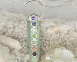 7 Chakra with main stone Natural Gemstone Handmade Pendant  K91