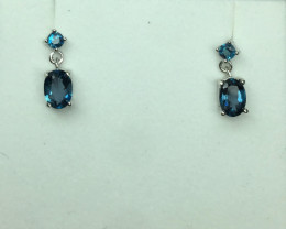 Natural Beautiful Landan Blue Topaz earrings With A 925 Starling Silver.