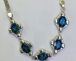 Natural Beautiful  Landan Blue Topaz and CZ  Bracelet With A 925 Starling