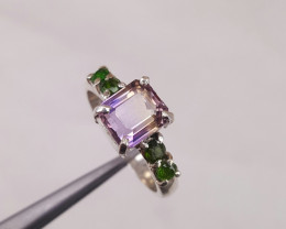 Natural Ametrine  and small chrome diopside   ring