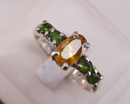 Natural sphene with small chrome Diopside ring